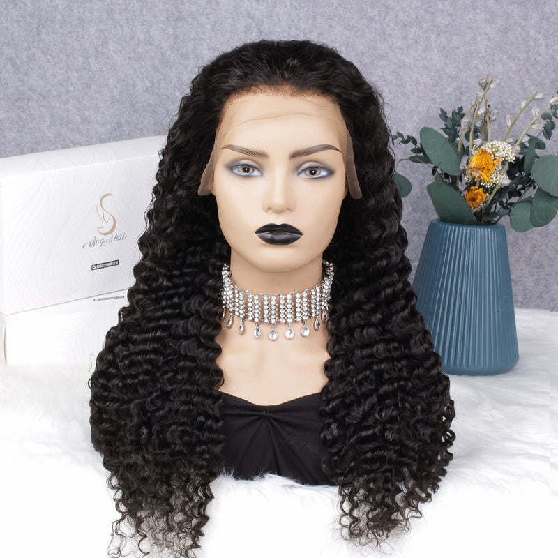 Beyonce 13x4 Deep Wave Lace Front Wig Pre-plucked& Pre-bleached Natural Hairline