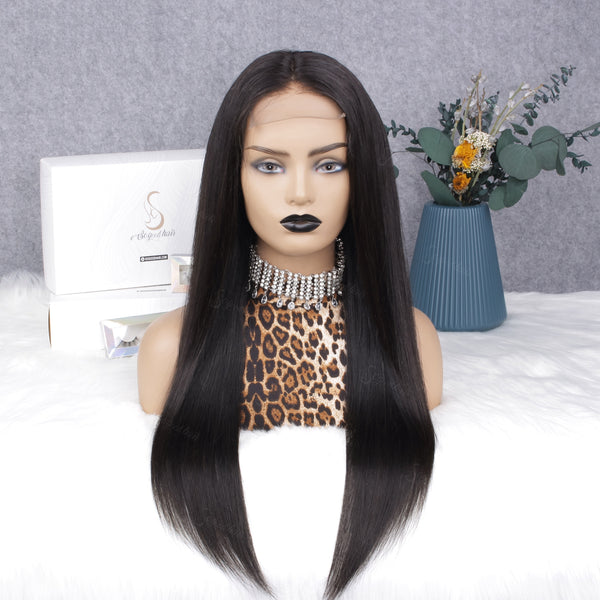 Straight 13x6 Fake Scalp Lace Frontal Wig with Piano Keys Elastic Band
