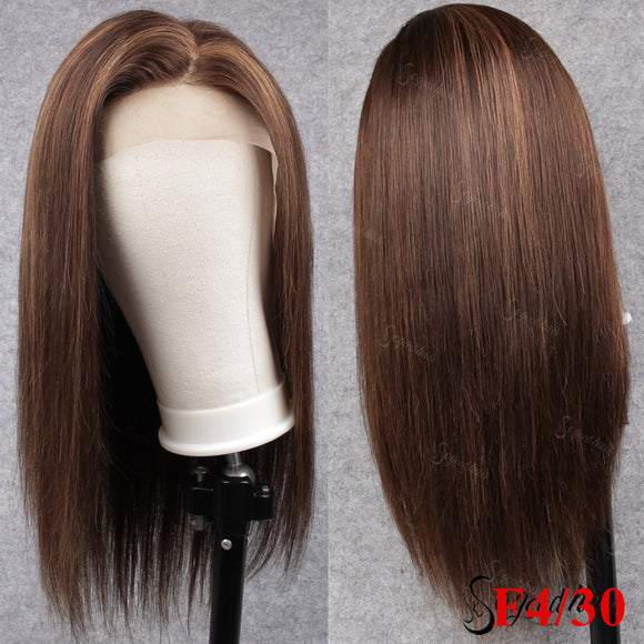 4/30 Medium Brown Highlight Color Virgin Human Hair Lace Front Wig