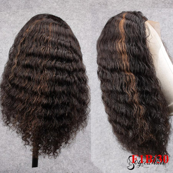 1B/30 Off Black Highlight Color Virgin Human Hair Lace Front Wig