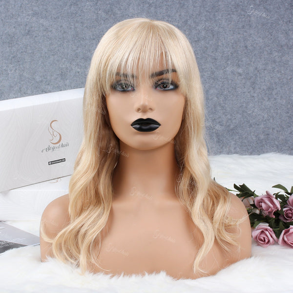 Wave Blonde 360 Lace Frontal Wig With Bang - sogoodhair