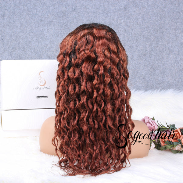 Medium Auburn Deep Wave | 13X4 Lace Frontal Wig | 180% Density - sogoodhair