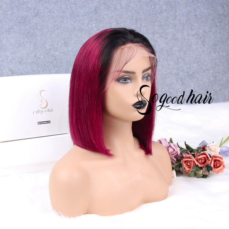 Ariel Burgundy Wine Red Bob Frontal Wig Silky Blunt Cut - sogoodhair