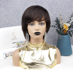 Pixie Cut Human Hair Lace Wig With Bangs