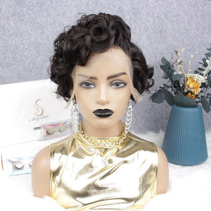 Side Part Wave Pixie Cut Virgin Human Hair Lace Wig