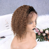 Honey Brown Ombre Deep Curly Bob | Lace Front Wig - sogoodhair