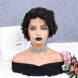 Jerry Curly Pixie Cut Human Hair Lace Wig