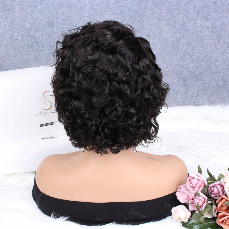 Jerry Curly | Pixie Cut Virgin Human Hair Lace Wig - sogoodhair