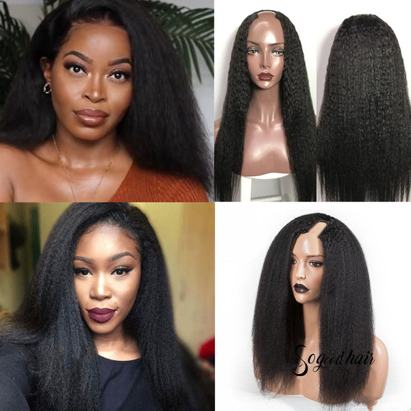 Super-U U Part Kinky Straight Wig | Super Easy Human Hair Wig - sogoodhair