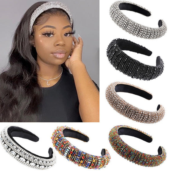 Rhinestone Padded Headband Bejewelled Statement Headband Party Headband