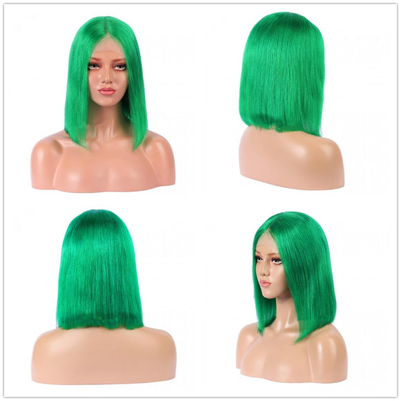 10 Inch Christmas Green Lace Front Bob Wig - SC030 | Only 1 pc