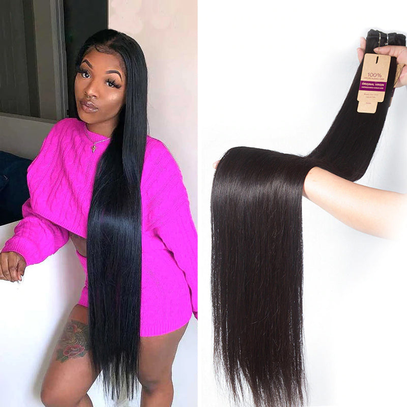 28 Inch- 40 Inch Super Long Hair Bundle | 1 PC Virgin Machine Double Hair Weft