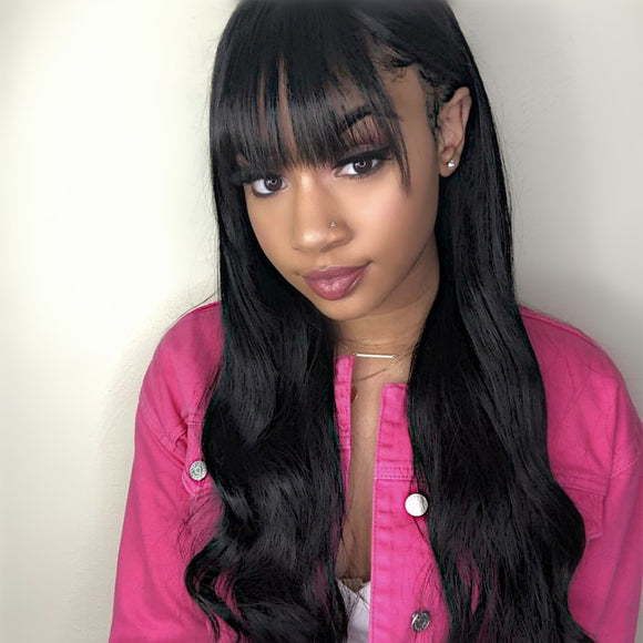 Body Wave With Bang 13x6 Lace Frontal Wig Invisible Knots