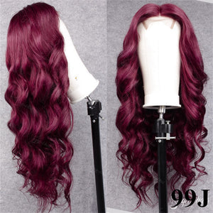12-28 Inch Burgundy Glueless Lace Closure Wig