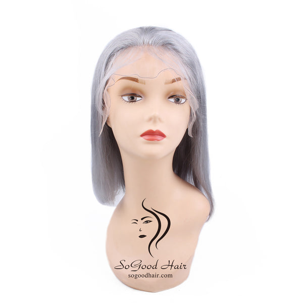 Silver Gray BOB Wig| Lace Front Wig| Remy Human Hair - sogoodhair