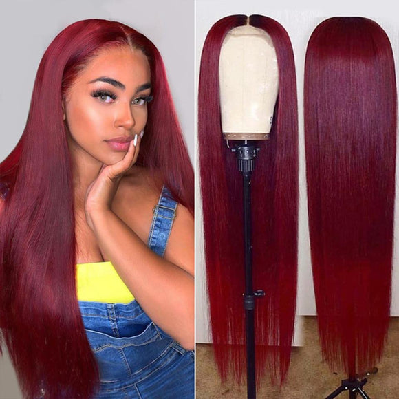 Vibrant Burgundy Lustrous Silky Straight Lace Frontal Wig