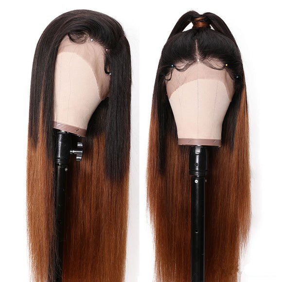 Pre-Plucked Ombre Honey Brown Straight Lace Front Wig