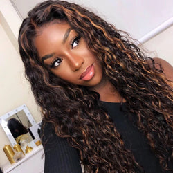 Honey Brown Highlight 27 Curly Lace Wig