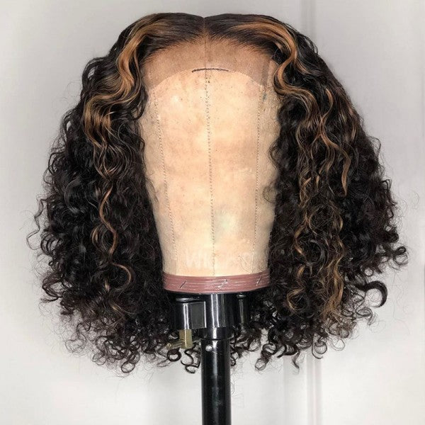 200% Density Highlight 27# Curly Bob Lace Wig