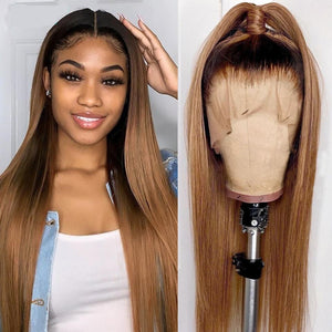 200% Density Ombre Brown Straight Lace Front Wig