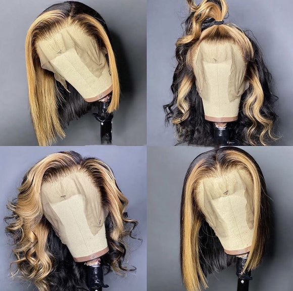 200% Density Highlight 13x4 Lace Front Bob Wig