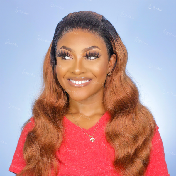 Liyah Honey Brown Ombre 180% Density Frontal Lace Wig