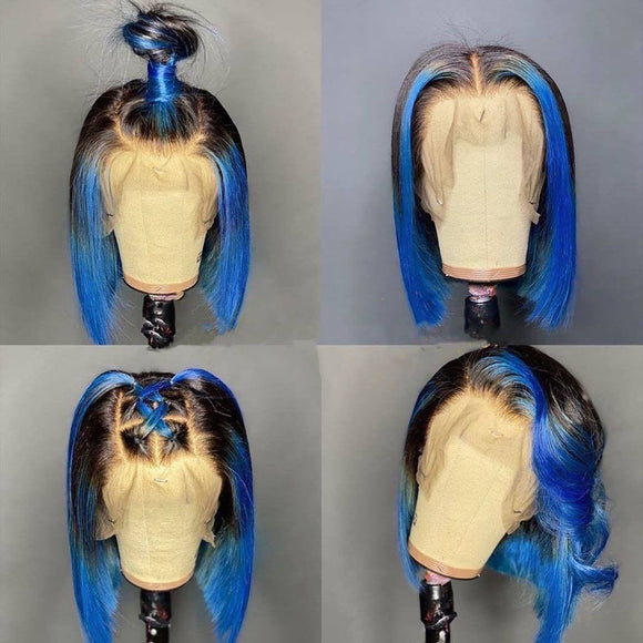 200% Density Ombre Blue 13x4 Lace Front Bob Wig