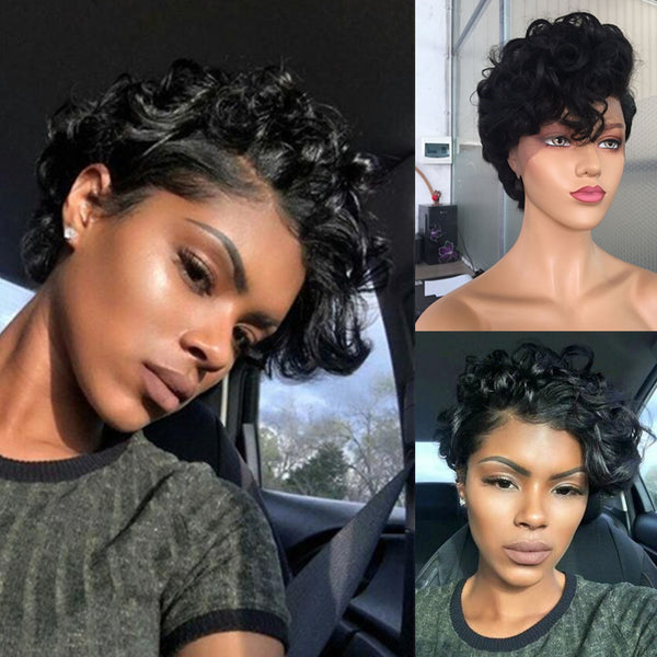 Short Curly| Pixie Cut Virgin Human Hair Lace Wig - sogoodhair