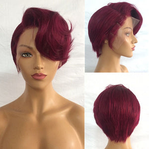 Side Burgundy Bang Wave| Pixie Cut Virgin Hair Lace Wig - sogoodhair