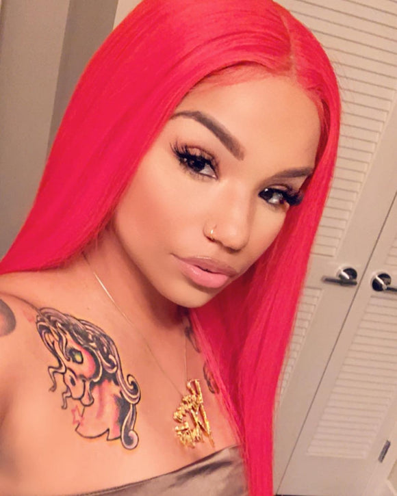 Human Hair Red Color 13X4 Lace Front Wig Straight Pre Plucked hairline - sogoodhair