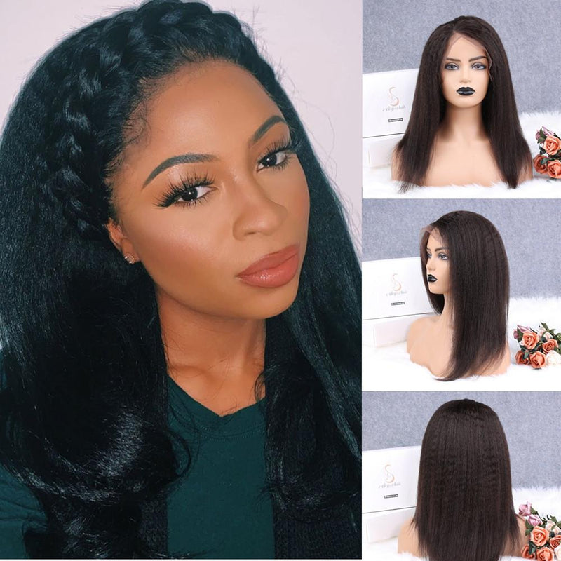 Lemon Kinky Straight 13x4 Fake Scalp Lace Front Wig