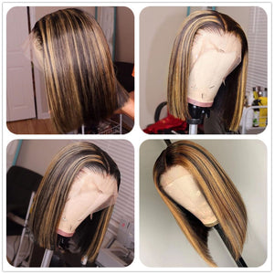 Honey Brown Piano Highlights Colored Straight Bob Lace Frontal Wig