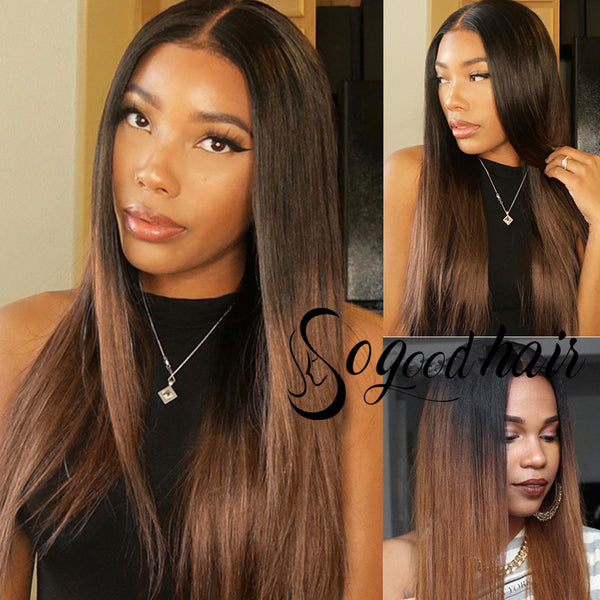 Honey Brown Straight 150% Density Frontal Lace Wig - sogoodhair