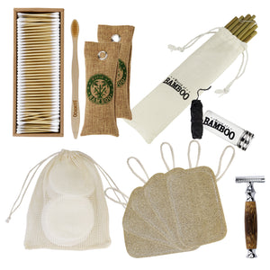 Gift pack of eco-friendly bamboo items for personal care
