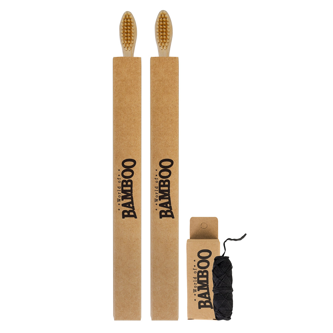 bamboo toothbrush and bamboo dental floss set