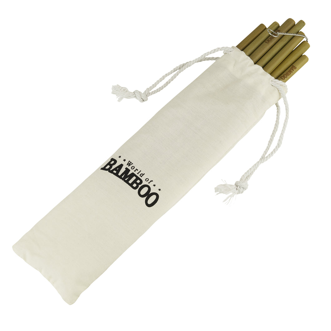 bamboo drinking straws in handy carry pouch