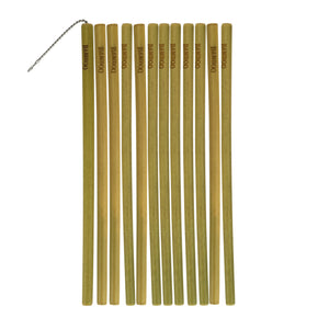 12 bamboo drinking straws and brush cleaner