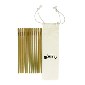 12 bamboo straws and cotton pouch