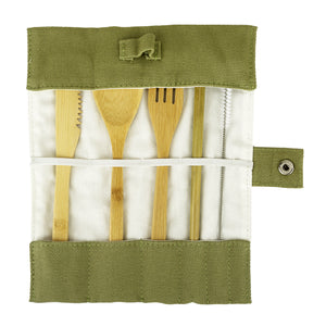 Bamboo cutlery stored in the roll up pouch
