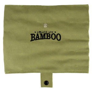 Natural sage pouch with World of Bamboo logo
