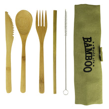 Load image into Gallery viewer, bamboo cutlery set including straw, straw cleaning brush and pouch