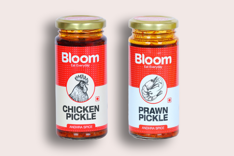 Bloom Boneless Andhra Chicken + Andhra Prawns Pickle (Pack Of 2 X 230g)