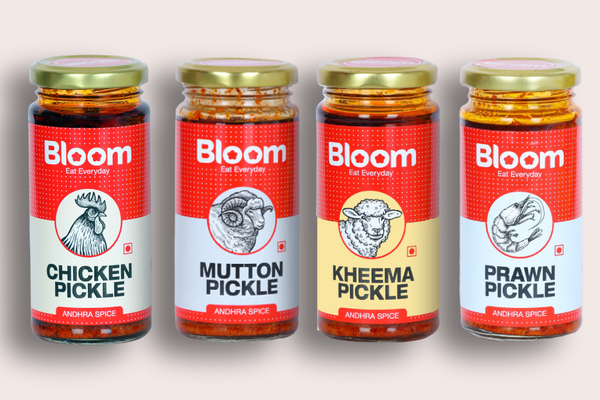 Boneless Andhra Chicken + Mutton + Keema + Prawns Pickle (Pack of 4 X 230g)