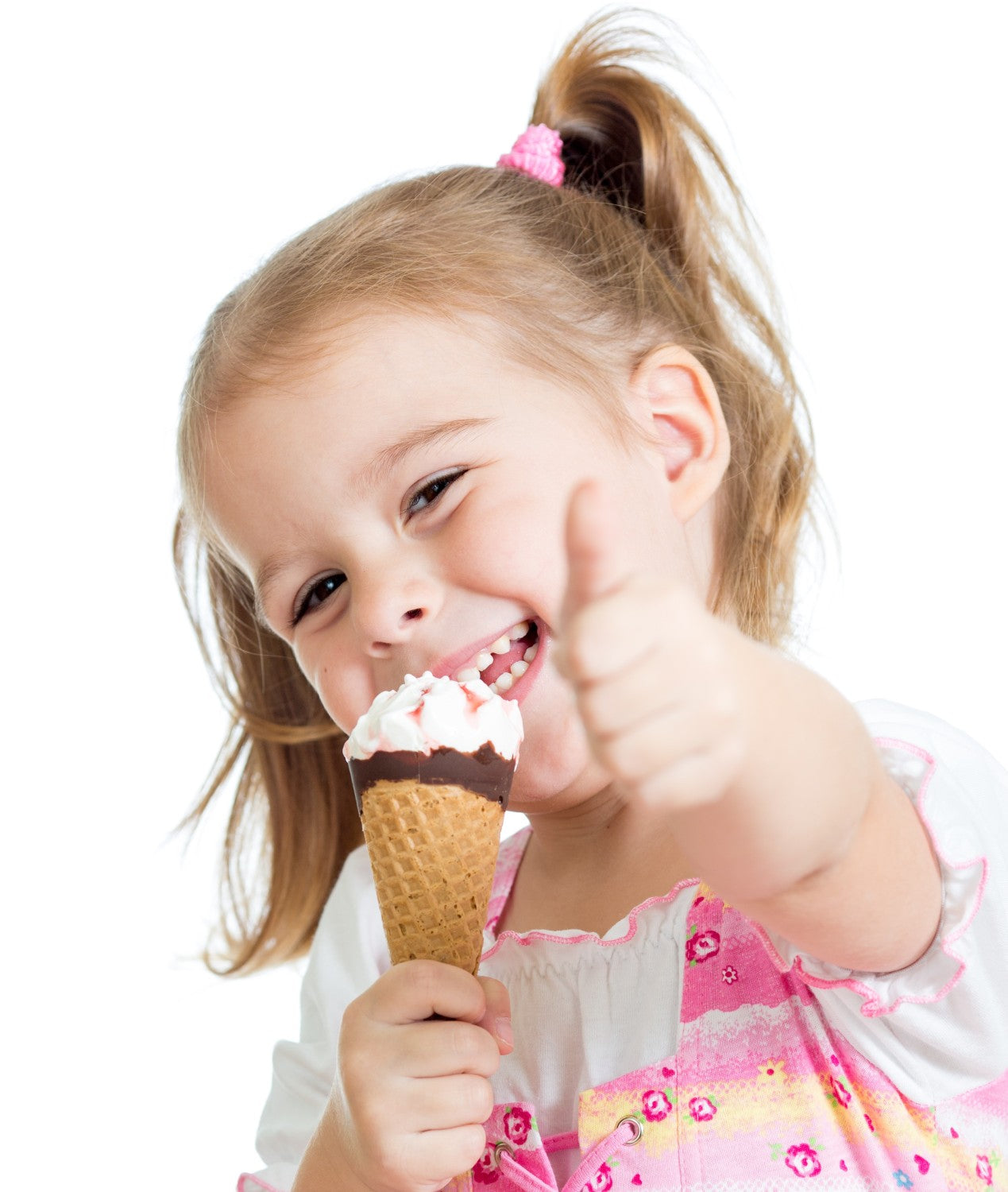 happy girl eating an ice cream treat and giving a thumbs up