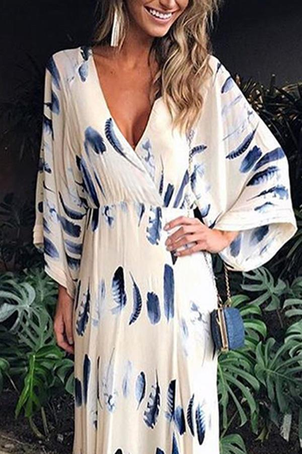 254fda0595 Superphie Sexy Floral Print Long Sleeves Vacation Maxi Dress