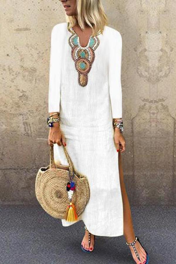 801a8394f3 Superphie V Neck Long Sleeve Printed Split Casual Dress