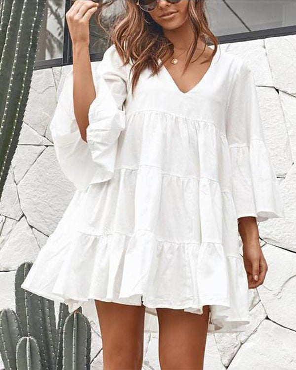 V-Neck Loose Pleated Split Mini Dress(Video)