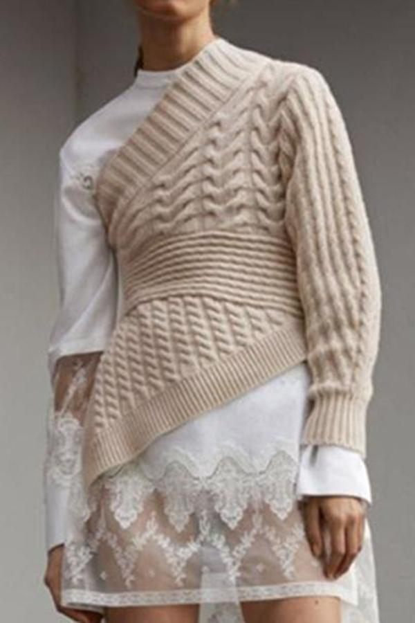Fashion Sloping   Shoulder Long Sleeve Pure Colour Knitwear