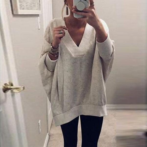 V Neck Long Sleeve Plain Loose Casual T-Shirts