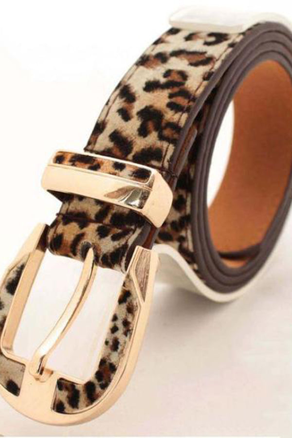 Fashion Leopard-Print Pigskin Decorative Pin Buckle Belt